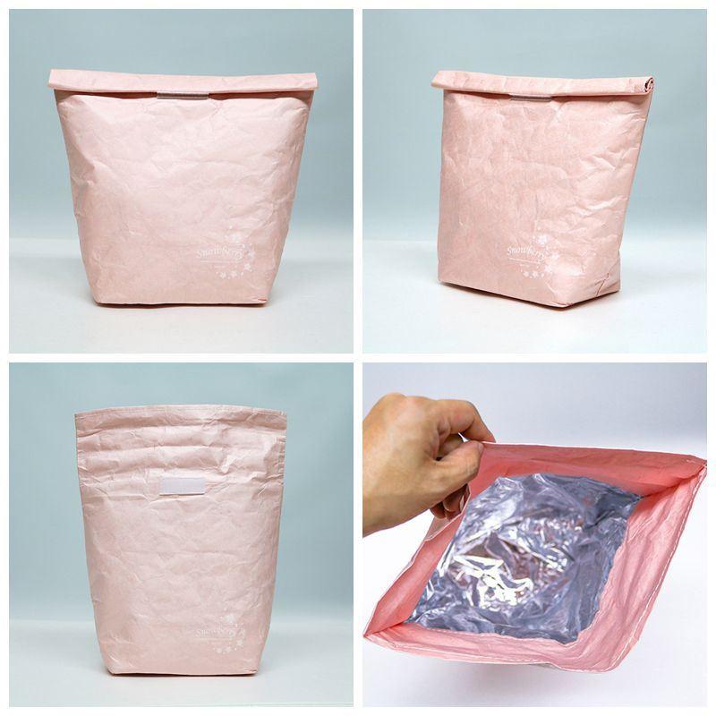 牛皮紙保溫袋,粉紅色櫻花系列-展示圖